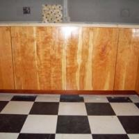 Curley grained boards selected for sink base doors.