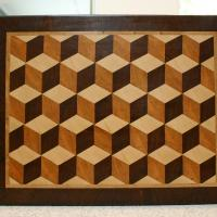 """3 D cube design. Board dimensions are 16 1/2"""" wide, 12 3/4"""" deep, and 1 1/2"""" thick."""