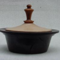 Walnut box, Sycamore top, Cherry finial