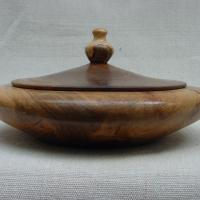 Maple box and finial, Walnut top