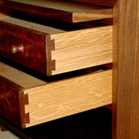 Dovetailed drawer boxes with highly figured White Oak.